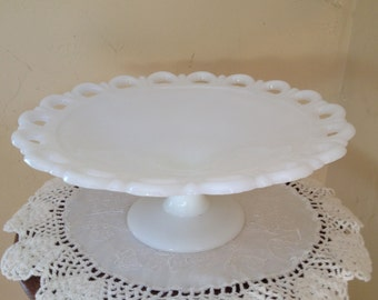 Vintage White Milk Glass Old Colony Lace Anchor Hocking Shallow  Fruit Bowl Center Piece