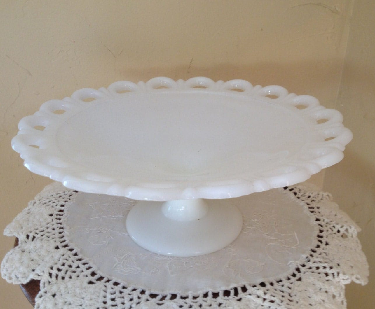 Anchor Hocking Milk Glass Cake Stand