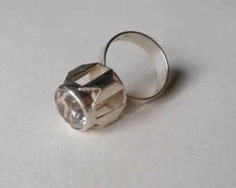 Modernist silver and rock crystal ring, 1970s (F228)