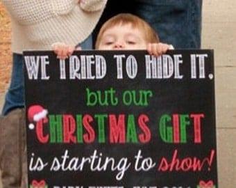 Christmas Pregnancy Announcement Christmas Pregnancy Reveal Christmas Chalkboard Christmas Announcement Christmas Poster Christmas Present