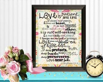 Love is Patient Wall Art Digital Printable 8x10 Bible Verse 1 Corinthians 13:4-8... Instant Download!