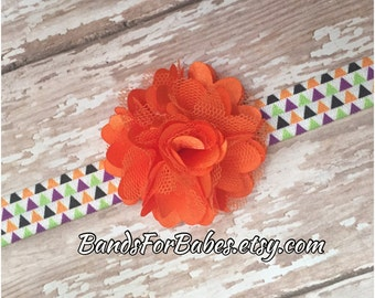 Girls Halloween Satin Tulle Flower Headband, Orange Black Purple and Green Hair Bow, Baby Headband, Toddler Hair Accessory, Elastic Headband