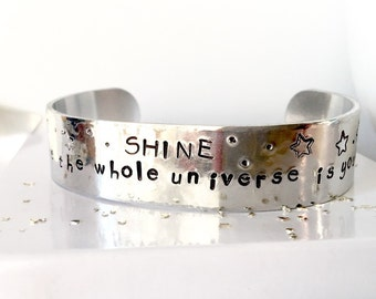 Shine Hand Stamped Cuff Bracelet, Hand Stamped Jewelry, Inspirational Cuff, Quote Cuff Bracelet, Engraved Bracelet, Gift for Her
