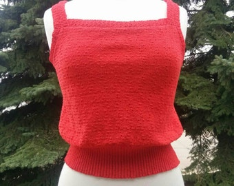 Vintage 1970s 1980s Red Knit Tank Top