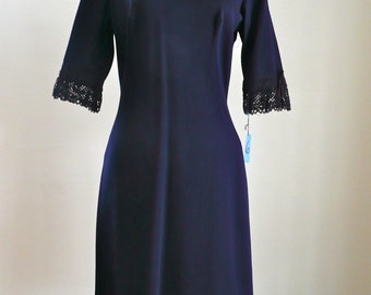 60's Dress Navy Blue Lace Mad Men Sexy Library Day Dress