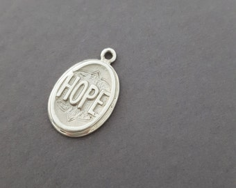 "Antique Inspired *STERLING SILVER* Victorian ""HOPE"" Charm / Pendant Necklace - Sentimental Jewelry"