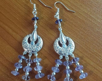 Genuine Amethyst Gemstone Chandelier Earrings