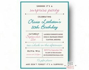 Adult Surprise Birthday Invite - Surprise 30th Birthday Invitation (Printable) Surprise 60th Birthday Invitations - Surprise Party Invite