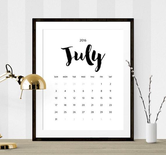 Typography Printable Calendar : Calendar printable monthly wall