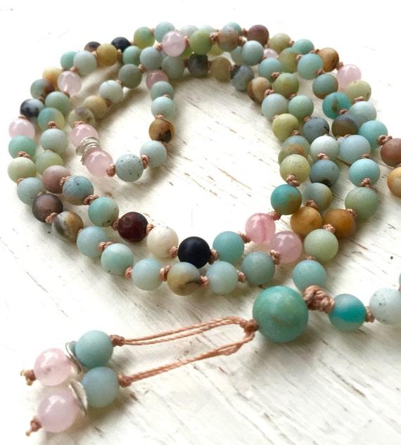 Amazonite Rose Quartz Mala Beads Heart Chakra mala yoga Heart Chakra Mala Beads, Delicate Mala