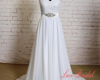 Special Back Wedding Dress with Crystal beading Sash Sweetheart Neckline Bridal Gown with Chiffon Skirt Ivory A-line Wedding Dress Train