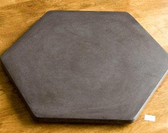 "Concrete Lazy Susan Hexagon, 18"" Dark Gray"