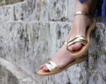 Midsummer leather sandals, women gold summer sandals, Greek handmade sandals