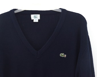 Vintage 80s Lacoste sweater navy blue vneck preppy