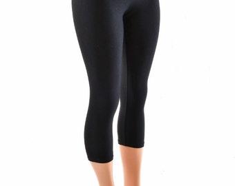 Matte Black Zen High Waist Capri Leggings Perfect for Yoga, Aerial, Hoop Flow  -152395