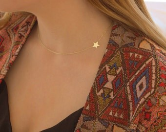 Star Sideways Necklace - Gold Star - Silver Star Necklace