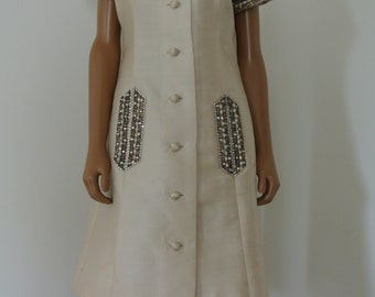 1960s Couture Dress Jean Lutece Beige Nude Coat Dress Beaded Deco Old Hollywood Glam/12