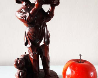 Lucky Vintage Hand Carved Wooden Chinese Statue of a Girl with Pumpkins