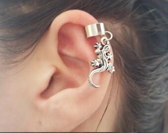 Silver Lizzard Iguana ear cuff wrap