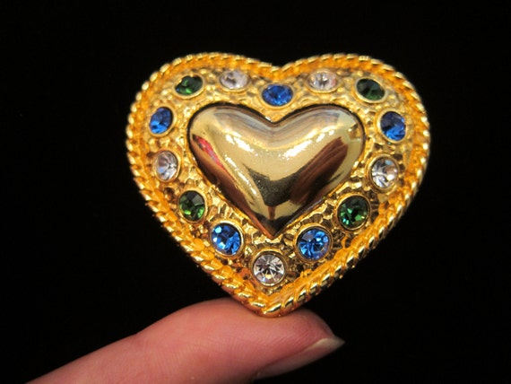 Vintage Kristel Saint Martin Paris Gold Tone Heart with Green Blue Clear Rhinestones Brooch Pin - Made In France Heart Valentines Jewelry