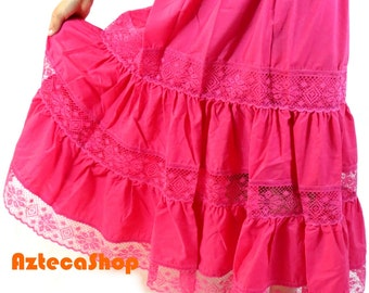 Mexican Cotton Skirt with Lace - Pink