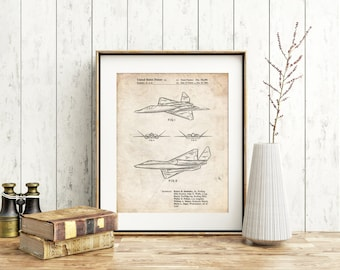 F-23 Fighter Stealth Plane Patent Poster, Black Widow 2, Aviation Print, Boys Room Decor, Airplane Print, PP0972