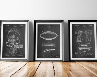 Football Patent Posters Group of 3, Football Pads, Leather Helmet, Football Wall Art, Football Coach Gift, Football Player, PP1158