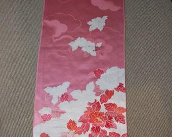 Peony kimono fabric/ Rose Pink/ Vintage Kimono silk fabric/B