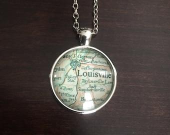 Louisville, Louisville Necklace, Louisville pendant, Louisville jewelry, city necklace, Louisville map necklace, map of Louisville necklace