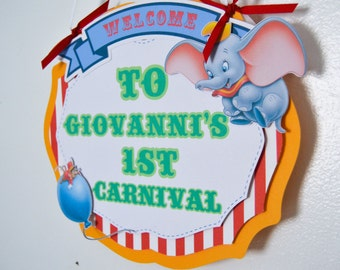 Circus/Carnival Birthday Door Sign, Dumbo