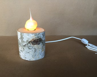 "4"" Birch Log Lamp with Pearlized Silicone Swirl Bulb"