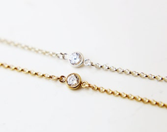 Simple CZ Bracelet / Perfect Layering Bracelet / Dainty Bracelet in Gold filled and Sterling silver   EB037