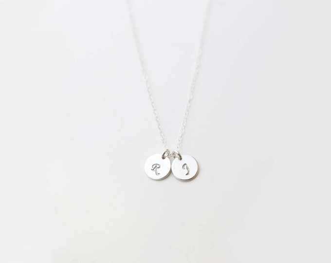 Sterling Silver Initial Necklace / Custom hand-stamped Initial Disc Necklace, Dainty initial necklace, Personalized gift for her  EP006