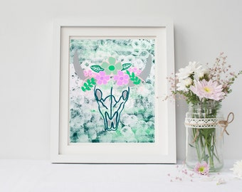 Cow skull with flowers art print, poster for nursery, girls room, dorm room, apartment, or home decor