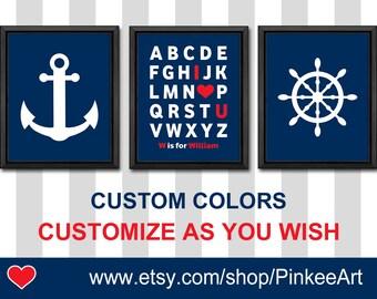 personalized nautical kids decor, nautical baby shower decoration, anchor baby, nautical boys room, ship wheel nursery, nautical nursery