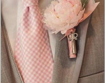 Blush Pink Gingham silk shantung men's necktie or bowtie