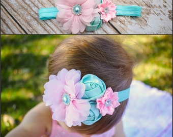 Baby headbands, baby girl headbands, pink and aqua flower headband, infant headbands, flower headbands, newborn headbands, headbands