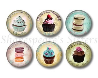 Pastry Magnets - Fridge Magnets - 6 Magnets - Cupcake Magnets - 1.5 Inch Magnets - Kitchen Magnets