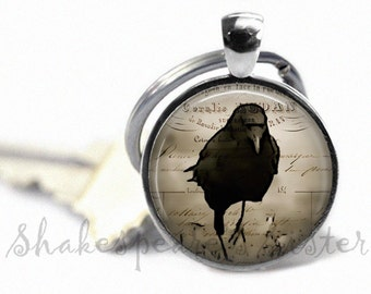 Crow Key Chain - Running Crow - Black Raven - Black Crow Pendant - Keychain