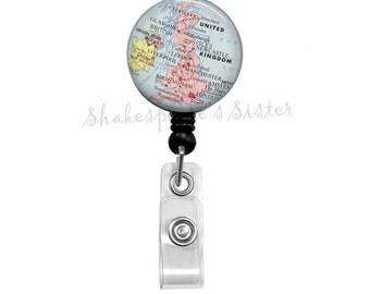 United Kingdom Map, Badge Reel, UK Map, Badge Holder, Retractable Badge, ID Holder