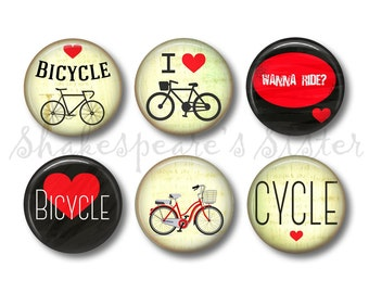 Bicycle Magnets - Fridge Magnets - Bike Lover Gift - 6 Grungy Magnets - 1.5 Inch Magnets - Kitchen Magnets