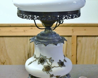 Vintage Hurricane Lamp Gone With the Wind Light White Gold Flowers Period Lighting PanchosPorch