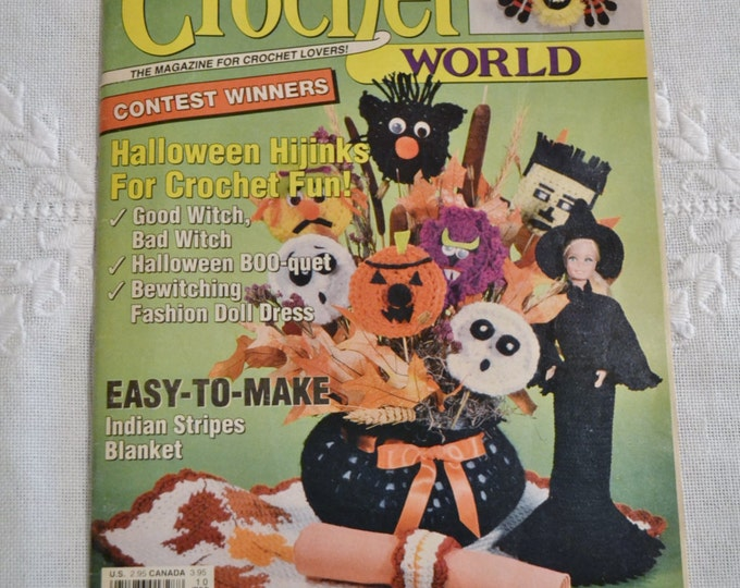 Crochet World Magazine October 1991 Halloween Autumn Craft Projects Patterns Vintage Instructions DIY Panchosporch