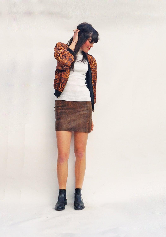 vintage leather skirt brown leather mini skirt 60s mini
