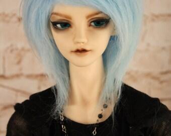 BJD pastel blue fur wig