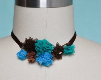 Choker Fabric Necklace. Handmade Mesh Fabric Flower Pompons, Satin Ribbon. Turquoise, Emerald, Brown. Choker Flower Necklace. Test.