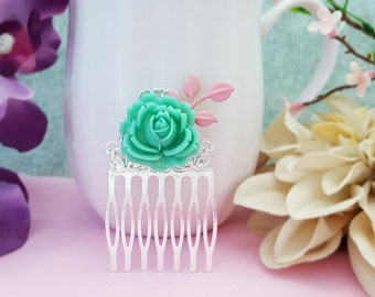 Teal Flower Hair Comb, Pink Leaf Comb, Turquoise Wedding, Baby Pink Bridesmaid, Teal Bridesmaid, Turquoise Hair Comb, Pink and Green, H2031