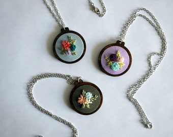 Wildflower Embroidery Necklace - Hoop Art Jewelry - Custom Hand Stitched Art - Sterling Silver & Floral Pendant - Gift for Her - Bridesmaid