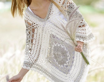 Custom made crochet poncho, Hippie crochet shawl, boho crochet poncho, crochet cape, romantic crochet wrap