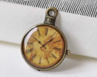 10 pcs Antique Bronze Enamel Clock Charms Size  20x25mm A8515